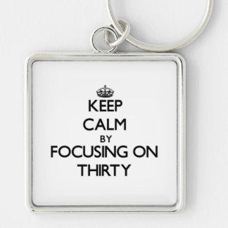 Keep Calm by focusing on Thirty Keychain