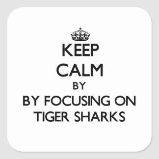Keep calm by focusing on Tiger Sharks Square Stickers