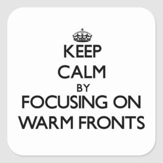 Keep Calm by focusing on Warm Fronts Square Stickers
