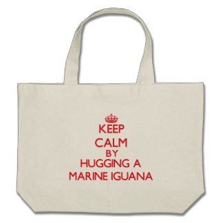 Keep calm by hugging a Marine Iguana Canvas Bags