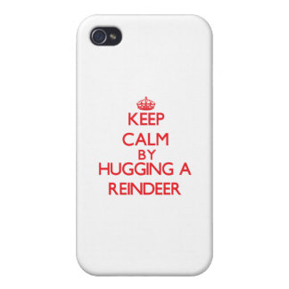 Keep calm by hugging a Reindeer iPhone 4 Cover