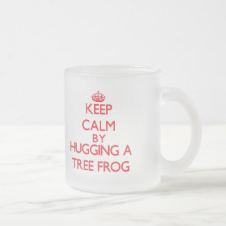 Keep calm by hugging a Tree Frog Frosted Glass Mug
