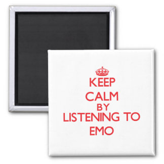 Keep calm by listening to EMO Fridge Magnet