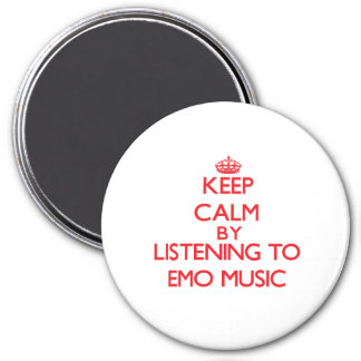 Keep calm by listening to EMO MUSIC Refrigerator Magnet