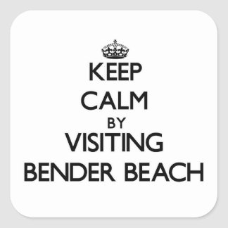 Keep calm by visiting Bender Beach Wisconsin Square Sticker