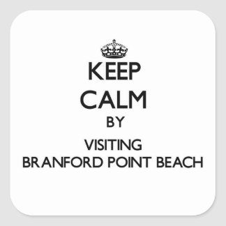 Keep calm by visiting Branford Point Beach Connect Square Sticker