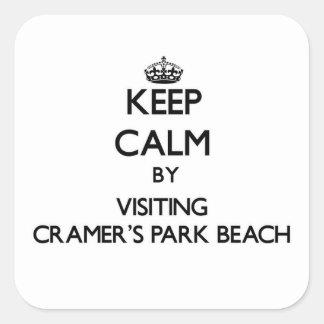 Keep calm by visiting Cramer'S Park Beach Virgin I Square Sticker