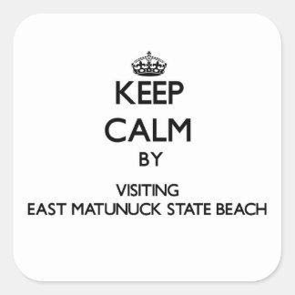 Keep calm by visiting East Matunuck State Beach Rh Square Sticker