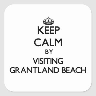 Keep calm by visiting Grantland Beach New York Square Sticker