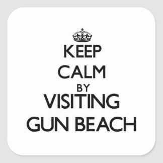 Keep calm by visiting Gun Beach Guam Square Sticker