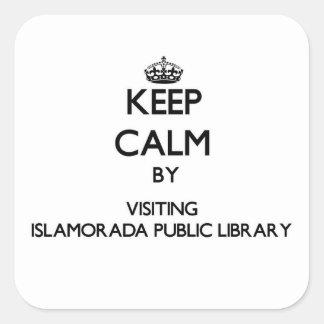 Keep calm by visiting Islamorada Public Library Fl Square Sticker