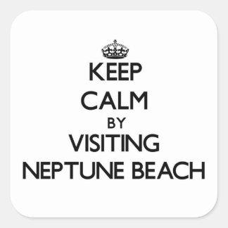 Keep calm by visiting Neptune Beach Oregon Square Sticker