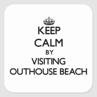 Keep calm by visiting Outhouse Beach Guam Square Sticker
