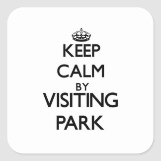 Keep calm by visiting Park New Jersey Square Sticker