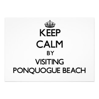 Keep calm by visiting Ponquogue Beach New York Personalized Announcements
