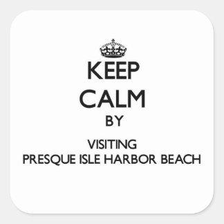 Keep calm by visiting Presque Isle Harbor Beach Mi Square Sticker