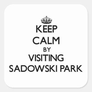 Keep calm by visiting Sadowski Park New Jersey Square Sticker