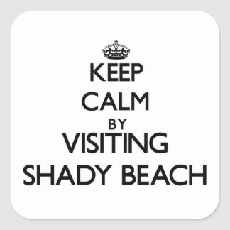 Keep calm by visiting Shady Beach Connecticut Square Sticker