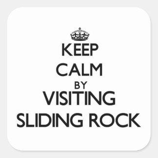 Keep calm by visiting Sliding Rock Samoa Square Sticker