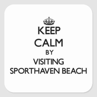 Keep calm by visiting Sporthaven Beach Oregon Square Sticker
