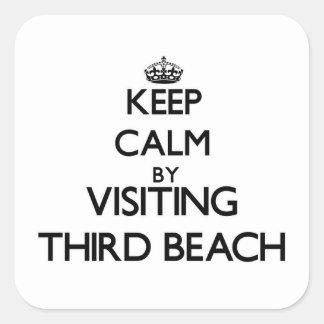 Keep calm by visiting Third Beach Rhode Island Square Sticker