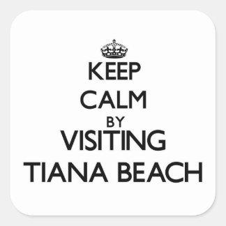 Keep calm by visiting Tiana Beach New York Square Sticker