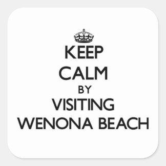 Keep calm by visiting Wenona Beach Michigan Square Sticker