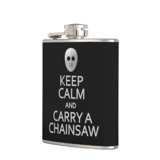 Keep Calm & Carry a Chainsaw custom flask