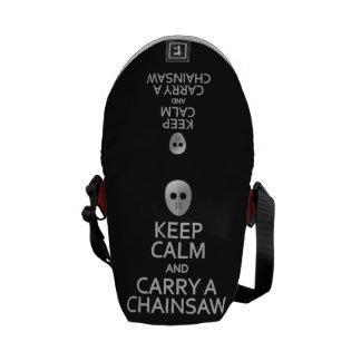 Keep Calm & Carry a Chainsaw custom messenger bag