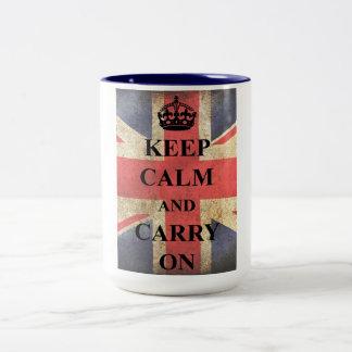 Keep Calm Carry On British Flag Two-Tone Coffee Mug
