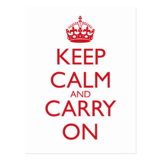Keep Calm Carry On Fire Engine Red Text Post Cards