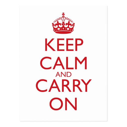 Keep Calm & Carry On Fire Engine Red Text Post Cards