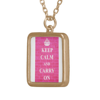Keep Calm & Carry On Pink Gold Plated Necklace