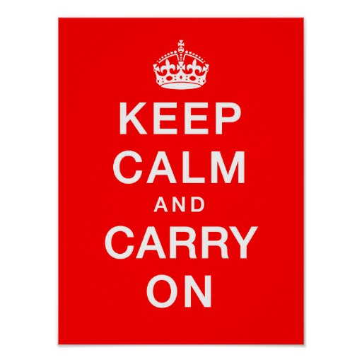 """Keep Calm & Carry On"" (red background) Print"