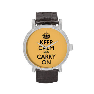 Keep Calm & Carry On. Vintage Beeswax Color Wrist Watch