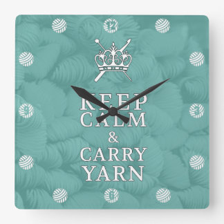 Keep Calm Carry Yarn CraftRoom {Dark} Square Wall Clock