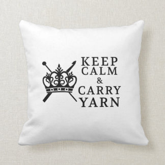 Keep Calm Carry Yarn Crafts /  Crown Logo Cushions