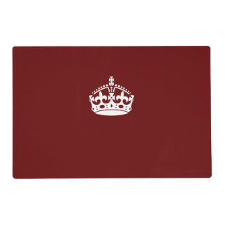 Keep Calm Crown on Burgundy Red Decor Placemat