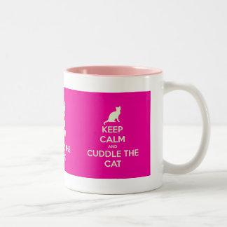 Keep Calm & Cuddle The Cat Two-Tone Coffee Mug
