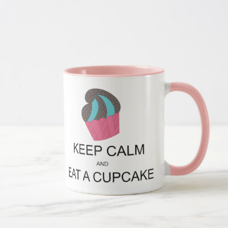 Keep Calm Cupcake Mug with Pink Handle