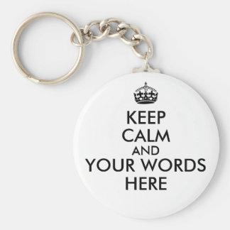 Keep Calm Customizable Text Color Key Chain Round