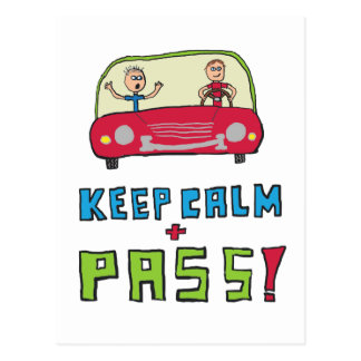 Keep Calm Driving Test Postcard