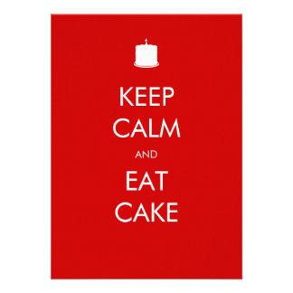 Keep Calm Eat Cake 40th Birthday Invitation