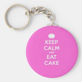 Keep Calm & Eat Cake Basic Round Button Key Ring