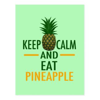 Keep Calm Eat Pineapple Postcard