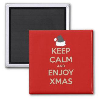 Keep Calm & Enjoy Xmas Square Magnet