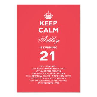 Keep Calm Funny Milestone 21st Birthday Invite Announcement