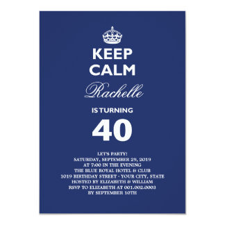 "Keep Calm Funny Milestone Birthday Party Invite 4.5"" X 6.25"" Invitation Card"