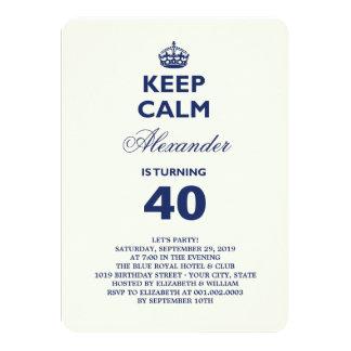 Keep Calm Funny Milestone Birthday Party Invite