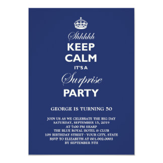 Keep Calm Funny Milestone Surprise Birthday Party 11 Cm X 16 Cm Invitation Card